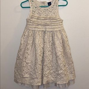 Baby Gap 2T oatmeal lace sparkly dress holiday